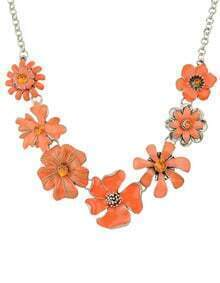 Bohemian Style Orange Enamel Shourouk Flower Necklace