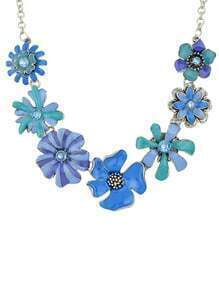 Bohemian Style Blue Enamel Shourouk Flower Necklace