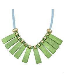 Fashionable Style Beautiful Green Long Spike Statement Collar Necklace
