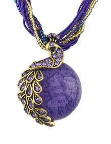 Purple Beads Chain Round Stone Pendant Necklace