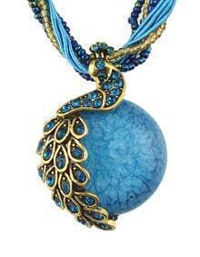 Blue Beads Chain Round Stone Pendant Necklace