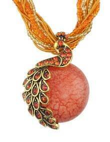 Orange Beads Chain Round Stone Pendant Necklace