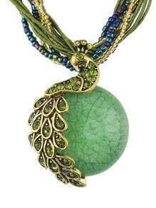 Green Beads Pendant Necklace