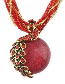 Red Beads Chain Round Stone Pendant Necklace