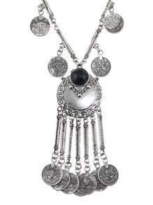 Antique Silver Trible Design Round Coin Piece Long Tassel Necklace for Women