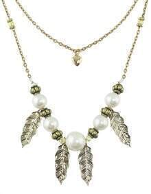 Fashionable Anqitue Style Two Layers Leaf Shape Fake Pearl Charms Necklace