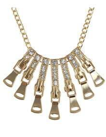 Fashionable Gold Plated Long Spike Rhinestone Statement Necklace