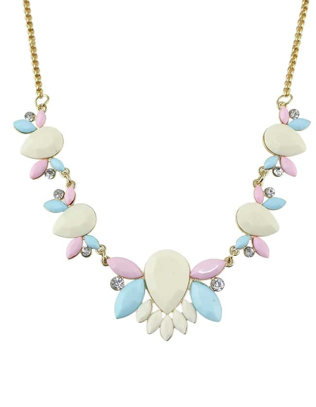 Fashionable Shourouk Style Pink Flower Necklace for Women