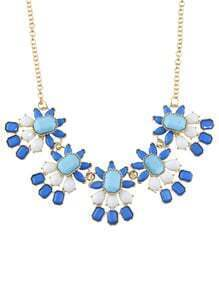 Shourouk Style Blue Resin Flower Necklace