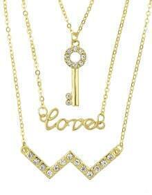 Latest Design Multilayers Gold Plated Rhinestone Key Lover Letter Chains Necklace Jewelry