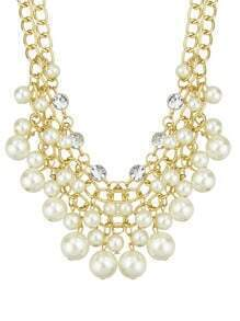 Latest Design Multilayers Statement White Imitation Pearl Necklace