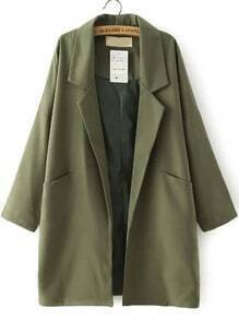 Green Notch Lapel Vintage Loose Trench Coat