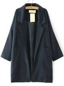 Navy Notch Lapel Vintage Loose Trench Coat
