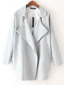 Light Grey Lapel Buttons Loose Trench Coat