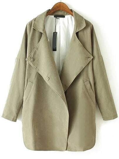 Green Lapel Buttons Loose Trench Coat
