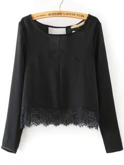 Black Round Neck Hollow Lace Crop Blouse