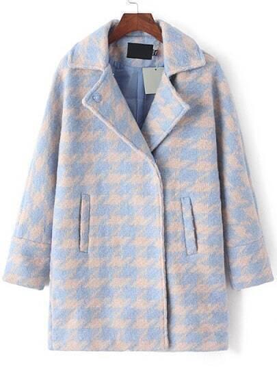 Blue Grey Lapel Houndstooth Woolen Coat