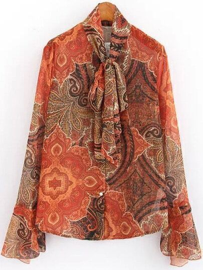 Orange Tie-neck Vintage Tribal Print Blouse