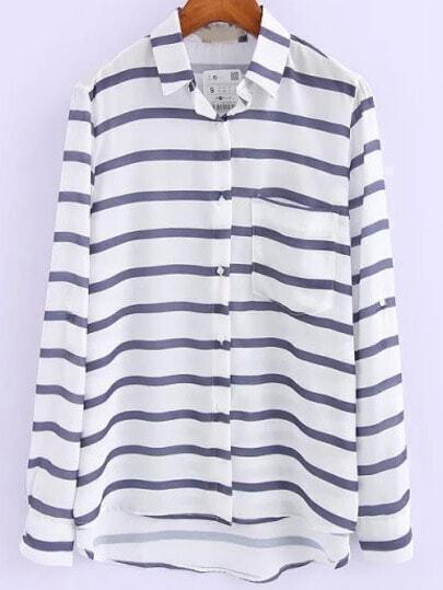 Blue White Lapel Striped Pocket Blouse