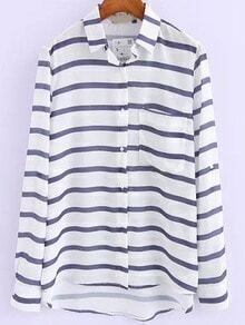 Blue White Lapel Striped Pocket Blouse