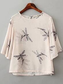 Beige Round Neck Dragonfly Print Crop Blouse