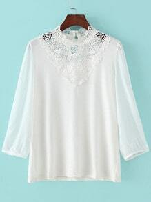 White Lace Collar Long Sleeve Loose Blouse