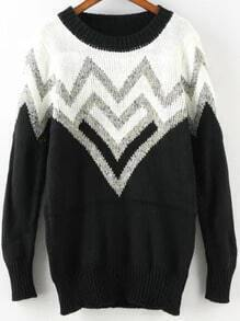 Black White Round Neck Zigzag Knit Sweater