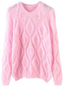Pink Round Neck Hollow Diamond Patterned Sweater