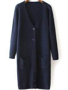 Navy V Neck Pockets Buttons Knit Cardigan