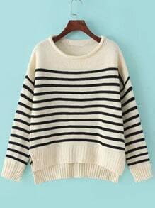 Black Beige Round Neck Striped Knit Sweater