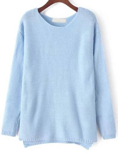 Blue Round Neck Loose Knit Casual Sweater