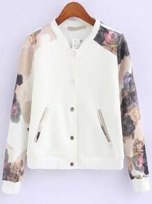 Multicolor Stand Collar Floral Casual Jacket