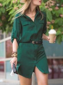 Green Long Sleeve Lapel Pockets Dress