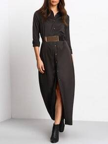 Black Long Sleeve Split Maxi Dress