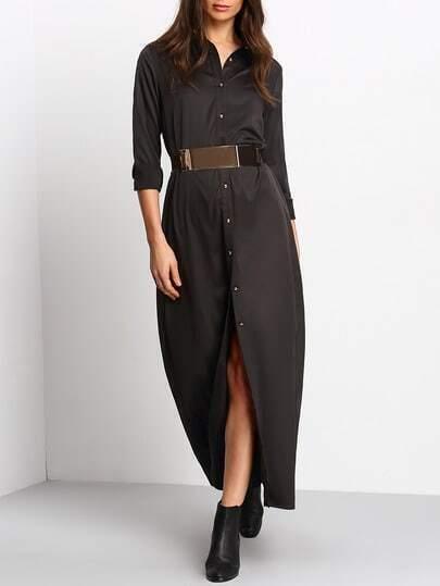 Black Long Sleeve Split Maxi Dress