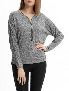 Grey Long Sleeve V Neck Zipper Sweater