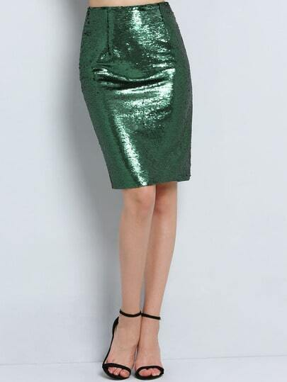 Green Sequined Straight Skirt