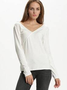 White Long Sleeve V Back T-Shirt