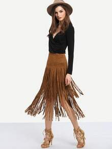 Brown Tassel Straight Skirt