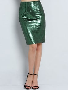 Green Sequined Straight Skirt