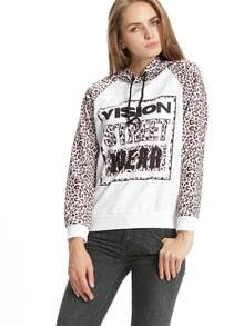 White Hooded Long Sleeve Patterns Leopard Letters Print Sweatshirt