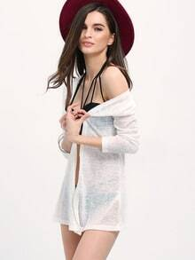 White Long Sleeve Loose Cardigan