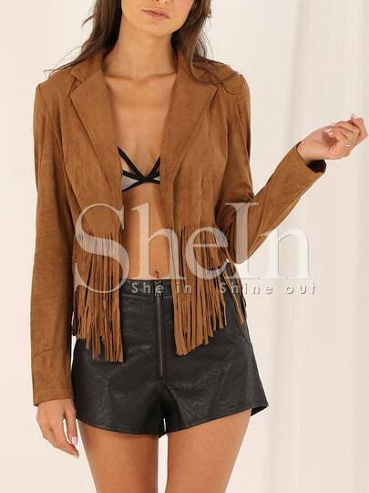 Brown Long Sleeve Tassel Jacket pictures