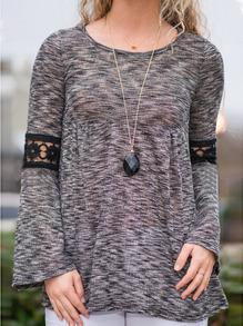 Grey Bell Sleeve Lace Crochet T-Shirt