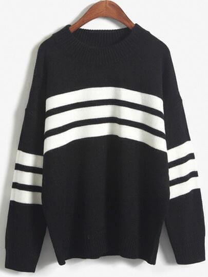 Jersey cuello redondo rayas -negro