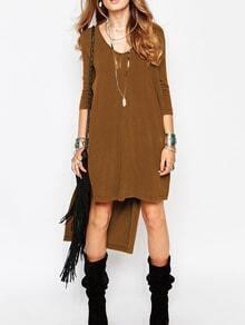 Dark Khaki V Neck Split High Low Dress