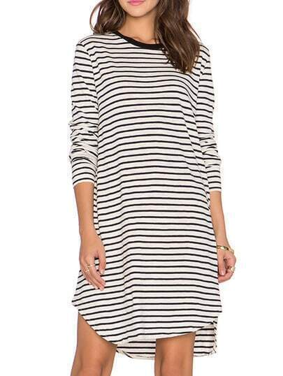 White Long Sleeve Striped Dress