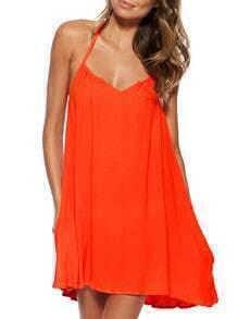 Orange Halter Backless Chiffon Shift Dress