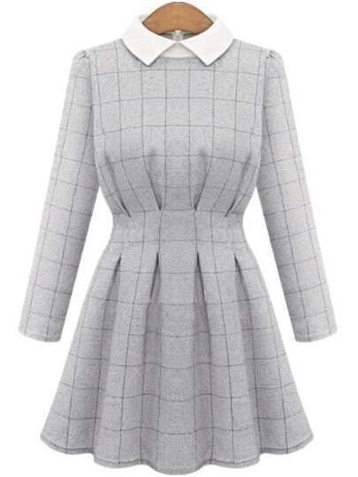 Grey Contrast Collar Long Sleeve Plaid Dress