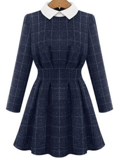 Blue Woven Contrast Collar Long Sleeve Coat Plaid Dress